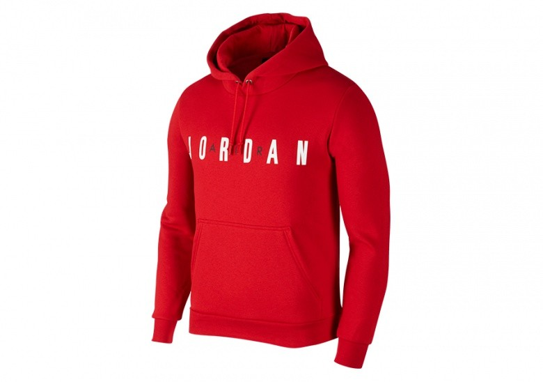 NIKE AIR JORDAN FLIGHT FLEECE PULLOVER HOODIE GYM RED
