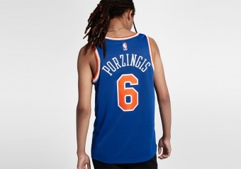 NIKE NBA NEW YORK KNICKS KRISTAPS PORZINGIS ROAD SWINGMAN JERSEY RUSH BLUE