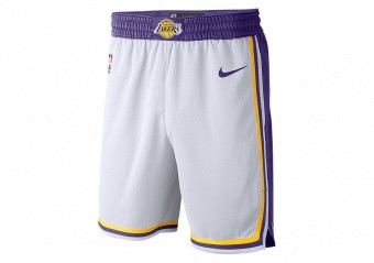 NIKE NBA LOS ANGELES LAKERS SWINGMAN HOME SHORTS WHITE