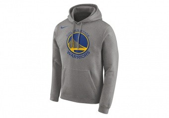NIKE NBA GOLDEN STATE WARRIORS LOGO HOODIE DARK GREY HEATHER
