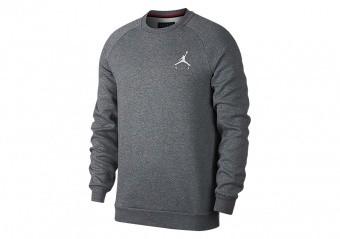 NIKE AIR JORDAN JUMPMAN FLEECE CREW CARBON HEATHER