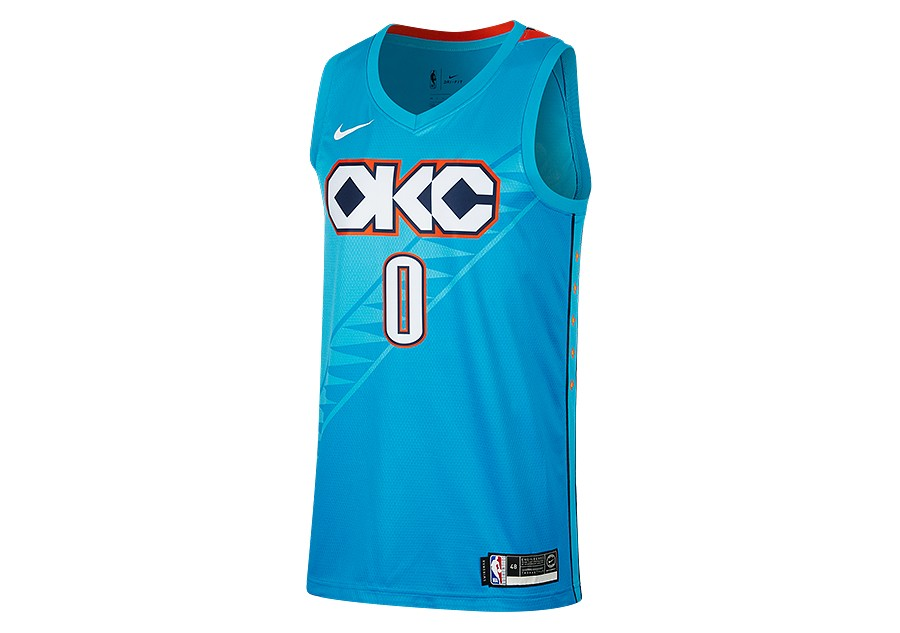 054295629a1 NIKE NBA OKLAHOMA CITY THUNDER RUSSELL WESTBROOK SWINGMAN JERSEY TIDAL BLUE
