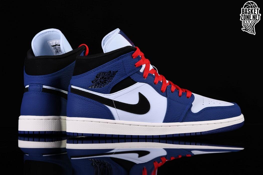 nike air jordan retro 1 mid czarny blue