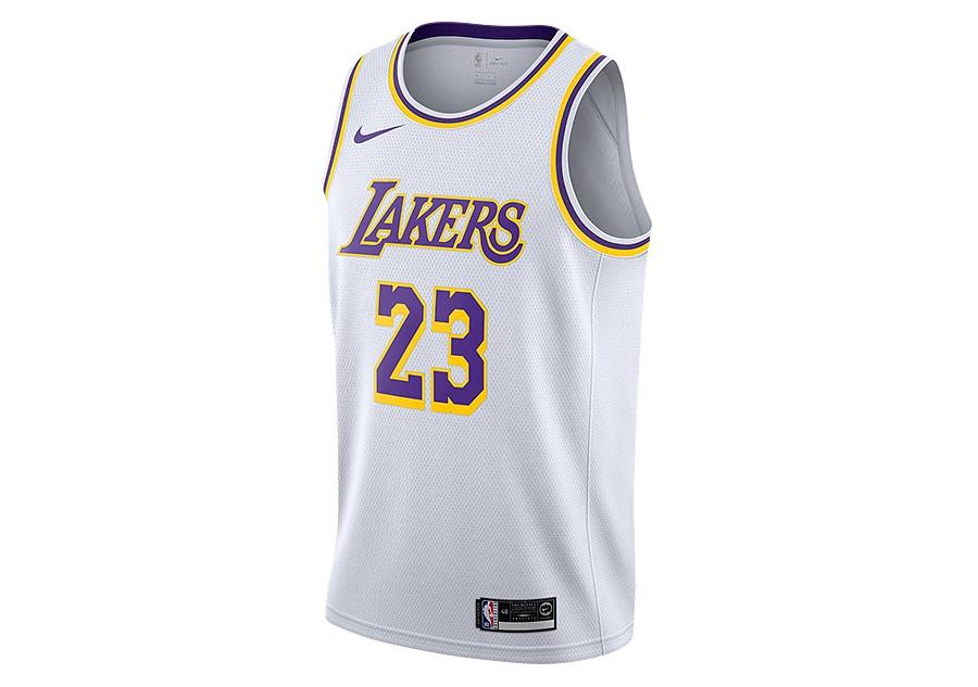 cbde6143649ad NIKE NBA LOS ANGELES LAKERS LEBRON JAMES SWINGMAN HOME JERSEY WHITE por  €77