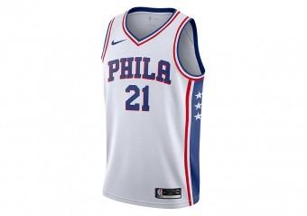 NIKE NBA PHILADELPHIA 76ERS JOEL EMBIID SWINGMAN HOME JERSEY WHITE