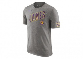 NIKE NBA LOS ANGELES LAKERS LEBRON JAMES DRY TEE DARK GREY HEATHER