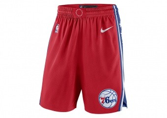 NIKE NBA PHILADELPHIA 76ERS SWINGMAN SHORTS UNIVERSITY RED