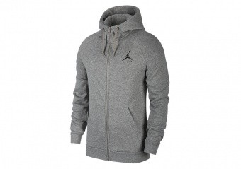 NIKE AIR JORDAN SPORTSWEAR JUMPMAN FLEECE HOODIE CARBON HEATHER BLACK