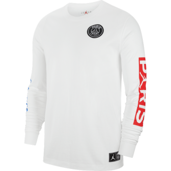 AIR JORDAN PSG PARIS SAINT-GERMAIN LONG-SLEEVE TEE WHITE