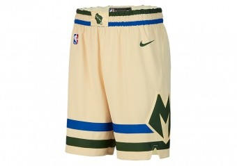 NIKE NBA MILWAUKEE BUCKS CITY EDITION SWINGMAN SHORTS FLAT OPAL