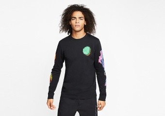 NIKE AIR JORDAN PHOTO REPEAT LONG-SLEEVE CREW TEE BLACK