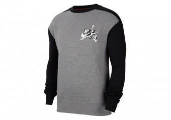 NIKE AIR JORDAN JUMPMAN CLASSICS FLEECE CREW CARBON HEATHER