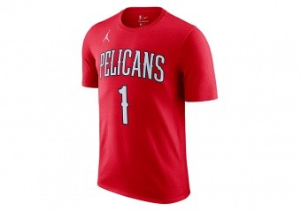 NIKE NBA NEW ORLEANS PELICANS ZION WILLIAMSON STATEMENT EDITION TEE UNIVERSITY RED