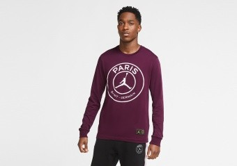 NIKE AIR JORDAN PSG PARIS SAINT-GERMAIN LONG-SLEEVE TEE BORDEAUX
