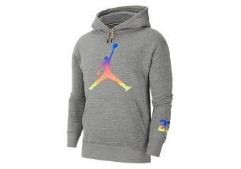 NIKE AIR JORDAN SPORT DNA MULTICOLOR HBR FLEECE PULLOVER HOODIE CARBON HEATHER